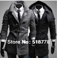 Wholesale New Turn Down Collar Double Breasted Wool Coat Long Spring Brand Men s Coat Men Long Trench Peacoat Military Mens Long