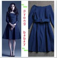 designer one piece dress - 2014 autumn women fashion brand designer denim one piece dress three quarter sleeve dress dark blue runway dresses jeans dress