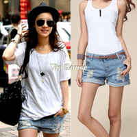 Wholesale 2014 Plus size Fashion Retro Women Girls Light Blue High Waist Flange Hole Wash Jeans Denim Shorts SV000480 K