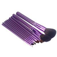 Cheap Professional 10PCS Wood Cosmetic Beauty Makeup Brushes Tools Kit Make up Cosmetics Set with Mirror Folding Box
