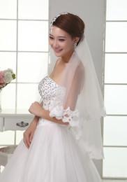 Wholesale One Layer Applique Lace Tulle Veil Wedding Dress Acessorios Para Mulher Veu de Noiva Bridal Veils t2