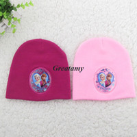 Wholesale Hot sell frozen girls winter warm caps elsa anna printed children knitting hats kids crochet hat child Beanie rose red pink blue fit Yrs