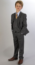 Wholesale Custom Charcoal Boy Tuxedo Boys Formal Occasion Attire Party Dress Wedding Suit Jacket Pants Tie Vest B06