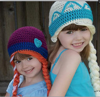 Wholesale Top quality New frozen girls winter warm crochet caps elsa anna workmanship girl fashion hat kids stingy brim hats purple creamy white