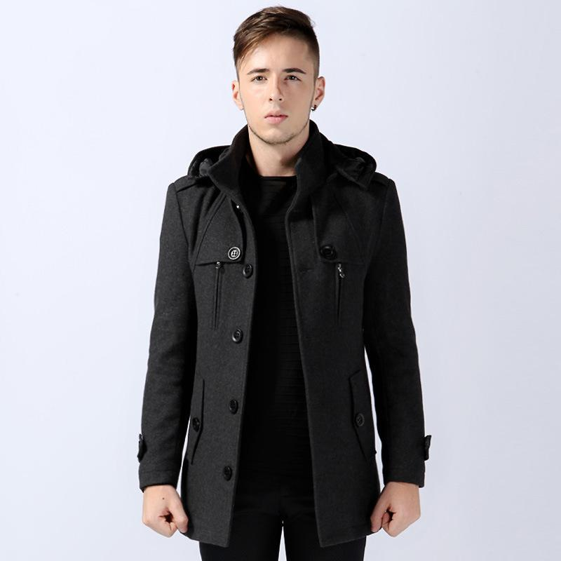 2017 Wholesale New 2013 Mens Gray Stylish Wool Pea Coat With Hood