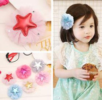 adorn artificial flowers - Baby girl hair clips lace flower adorned with PU star multicolors children s hair accessories barrette girl s hair clip duckbill clip