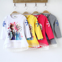 long sleeve yellow t-shirts - 2014 Autumn Girls Kids Frozen Anna Elsa T shirts Long Sleeve Cotton Shirts Round neck Tops Clothing for Y