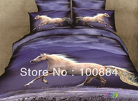 Cheap Cotton 500 TC twill white horse bedspreads,Cotton 4pc bedding set without the filler,white horse running bed linen queen size