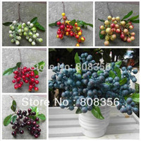 "Cheap Wholesale-100pcs 24cm 9.45"" Artificial Plants Simulation Mini Berry Berries Bacca Cute Small Fruite Strawberry"