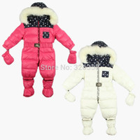 Cheap Newborn Baby boys girls winter romper children thick outerwear coats Kids polka dot Jacket winter warm hoodies with shoes gloves