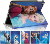 ipad cases - Frozen Elsa Anna cartoon iPad mini case ipad Air cases ipad2 iPad iPad4 covers PU Leather Case Stand covers fast shipping free styles