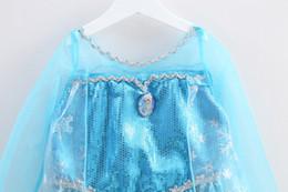 Vente en gros - 2014 Nouvelle Arrivée Frozen Princess Robes Bleu Elsa Robes Avec Blanc Lace Wape Filles Nouvelle Mode Frozen Robes A2133 à partir de lacets blancs gros fournisseurs