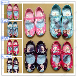Wholesale Girls Frozen shoes Elsa Anna Princess girl s flats shoes kids children Spring and autumn shoes High Quality style Blue Pink Purple Rose