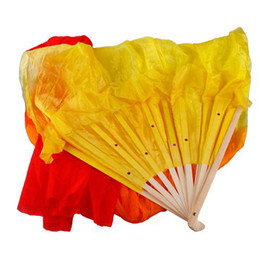 Wholesale Fashion M Hand Made Colorful Belly Dance Dancing Silk Bamboo Long Fans Veils dandys