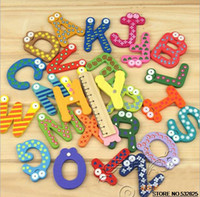 large wooden letters - Early Childhood Education Supplies Large English Letters Fridge Magnets Cartoon Animals Wooden Magnetic Sticker
