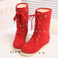ankle cuff heels - 2014 hot sales Women winter Fashion Lamb Snow boots Lace cuffs College Wind Casual short tube cotton boots