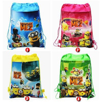 Wholesale Christmas Factory Direct sale dispicable me backpacks drawstring cartoon backpacks handbags children s school bags kids shopping bags