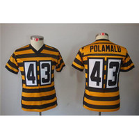Cheap #43 Troy Polamalu Black Gold American Football Jerseys Youth Boys Limited Football Jerseys Cheap Top Quality Football Uniforms All Teams