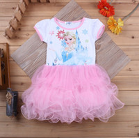 Wholesale Short sleeve frozen girls dresses Elsa printed princess girl tutu dress kids sweety skirts cake layer pleated ruffle kids dress