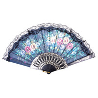 Wholesale Spanish Flower Floral Fabric Dancing Lace Folding Hand Wedding Party Decor Fan dandys