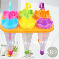 Cheap 6 Cell Frozen Ice Cream Pop Mold Popsicle Maker Lolly Mould Tray Pan Kitchen DIY 2set lot free shipping
