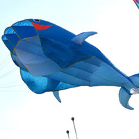 Wholesale Hot Sale D Huge Frameless Soft Parafoil Giant Dolphin Kite Blue With m line dandys