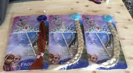 Extensiones de cabello elsa en Línea-Venta caliente de las muchachas congelado Elsa Anna sintética clip-en la extensión del pelo postizo niños peluca + corona + varita mágica del partido de Cosplay Juego 3 piezas
