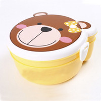 Wholesale Cute Kid Heat Resistant Cartoon Double Layer Plastic Lunch Meal Bento Box Spoon dandys