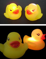 Bath Toys Children's Day  Baby Bath Bathing Funny LED Flashing Toy Rubber led duck Color Flashing Light 50pcs lot Free shipping
