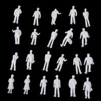 Wholesale 100pcs HO Scale White Model People Unpainted Train Figures