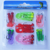 Wholesale 2014 NEW Fishing Lure Set Jig Lead Head Hooks Soft Worm Grub Single Tail Bait Carp Fishing Lures Tackle Tools