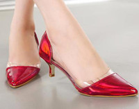 Wholesale Sexy red kitten heel women pumps silver wedding shoes clear patchwork office lady stiletto heels black patent leather shoes size to