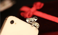 Wholesale 500pcs DHLCharms For Iphone Mixed Style Rhinestone Crystal mm Anti Dust Earphone Jack Plug Stopper