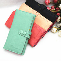 Wholesale Trendy Long Design Twill Women Girls Purse Paper Money Coins Cards Telephone Bag Capacity Wallets Colors BG