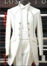 Wholesale Hot Sale Custom Made Groom Tuxedos Mandarin Lapel Best man Suit White Groomsman Bridegroom Wedding Prom Suits Jacket Pants Tie Girdle A189