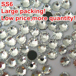 Wholesale ss6 Color Clear White Crystal Large packing Gross bag DMC Hot Fix Transfer Rhinestone Hotfix stone with glue