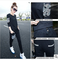 Cheap Free shipping women sports suit for spring casual clothes sets 2pcs t shirt and pants 1603
