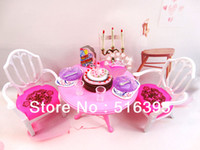 Wholesale girls birthday gift house furniture pretend play birthday set accessories for barbie doll