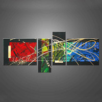 Cheap Free Shipping Unframed Fine Art 100% Hand-painted Modern Abstract Canvas Oil Painting 4 panels set Wall Decoration