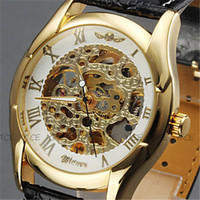 Wholesale Classic Men s Black Leather Gold Dial Skeleton Mechanical Sport Watch Gift Free Ship Men s Ladies Watch Top Quality