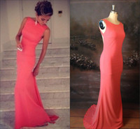 Wholesale Sexy Coral Beach Backless Evening Dress New Crew Neckline Fitted Sheath Floor Length Gown Evening Prom Dresses China