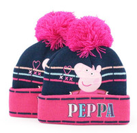 Wholesale 50 Peppa pig Girl Water warm Wool cap Duplex layer Hats flanging and printing hat for year
