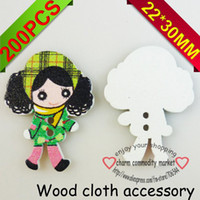 Wholesale button green color girl designs wooded cartoons shoes clothes accessory charms crafts findings WCF M