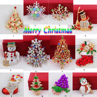 Wholesale Recommend Pretty PC Brooch gold Crystal Lady Dress Beanie Hat Accessories Brooches Christmas Gift