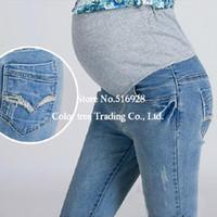 Wholesale Elastic Waist Cotton Maternity Jeans Pants For Pregnancy Clothes For Pregnant Women Legging Autumn Winter Plus Size