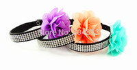 big dog collars bling - lines bling puppy doggie cat collars big lace flowers dog pu collars full of rhinestones S M colours