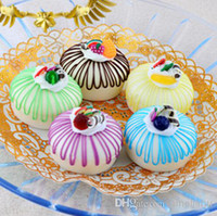 Wholesale cm PU Round cake Fridge Magnets Simulation Cream cake bakery sample model gift