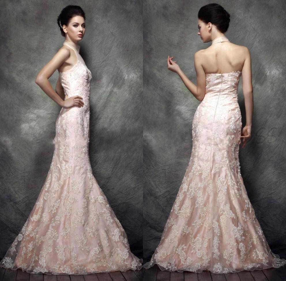 Light Pink Appliqued Lace Wedding Dresses Mermaid Sheer Halter ...