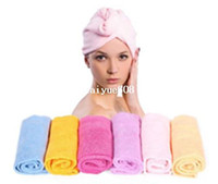 Wholesale Colors Lady Magic fast Hair Drying Bath Wrap Twist Towel Hat Cap Quick Dry Microfiber ZGV1