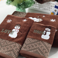 Wholesale Christmas terry cotton baby washcloth towboats bath towel piece set Christmas Towel Gift Set